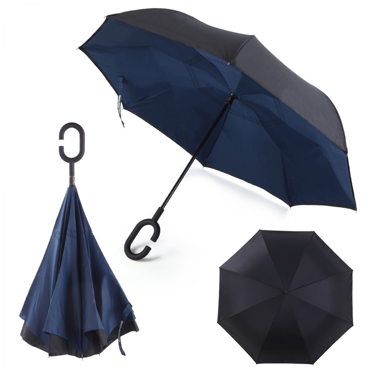 710a30073d40 Windproof Inverted Umbrella for Cars Reverse Open Double Layer with UV  Protection and C-Shape Sweat-proof Handle - Blue | By HomeyHomes
