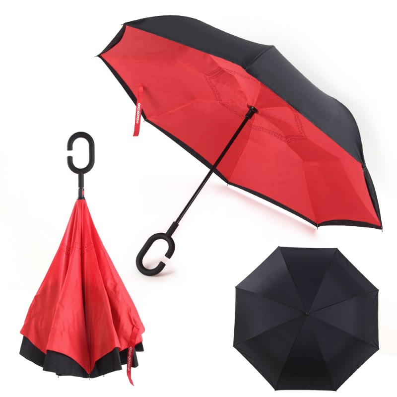 Windproof Inverted Umbrella for Cars Reverse Open Double Layer with UV Protection and C-Shape Sweat-proof Handle - Red| By HomeyHomes
