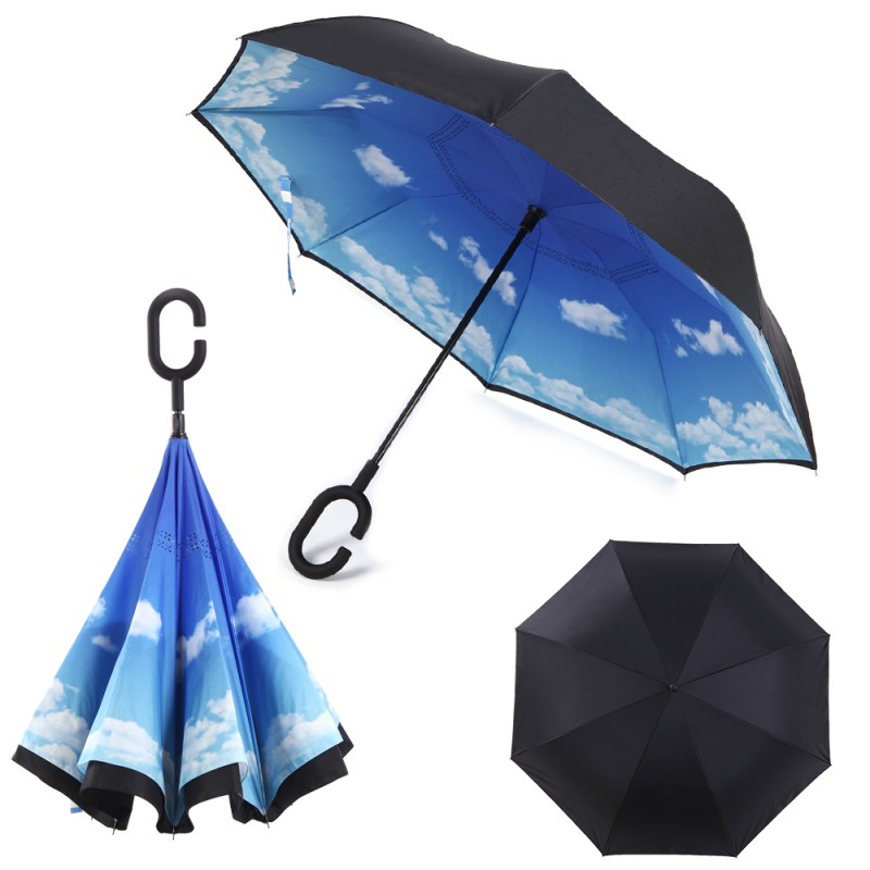 Windproof Inverted Umbrella for Cars Reverse Open Double Layer with UV Protection and C-Shape Sweat-proof Handle - Sky| By HomeyHomes